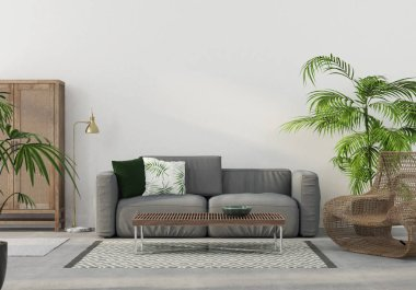 3D illustration. The interior of the living room with wicker furniture and a gray sofa