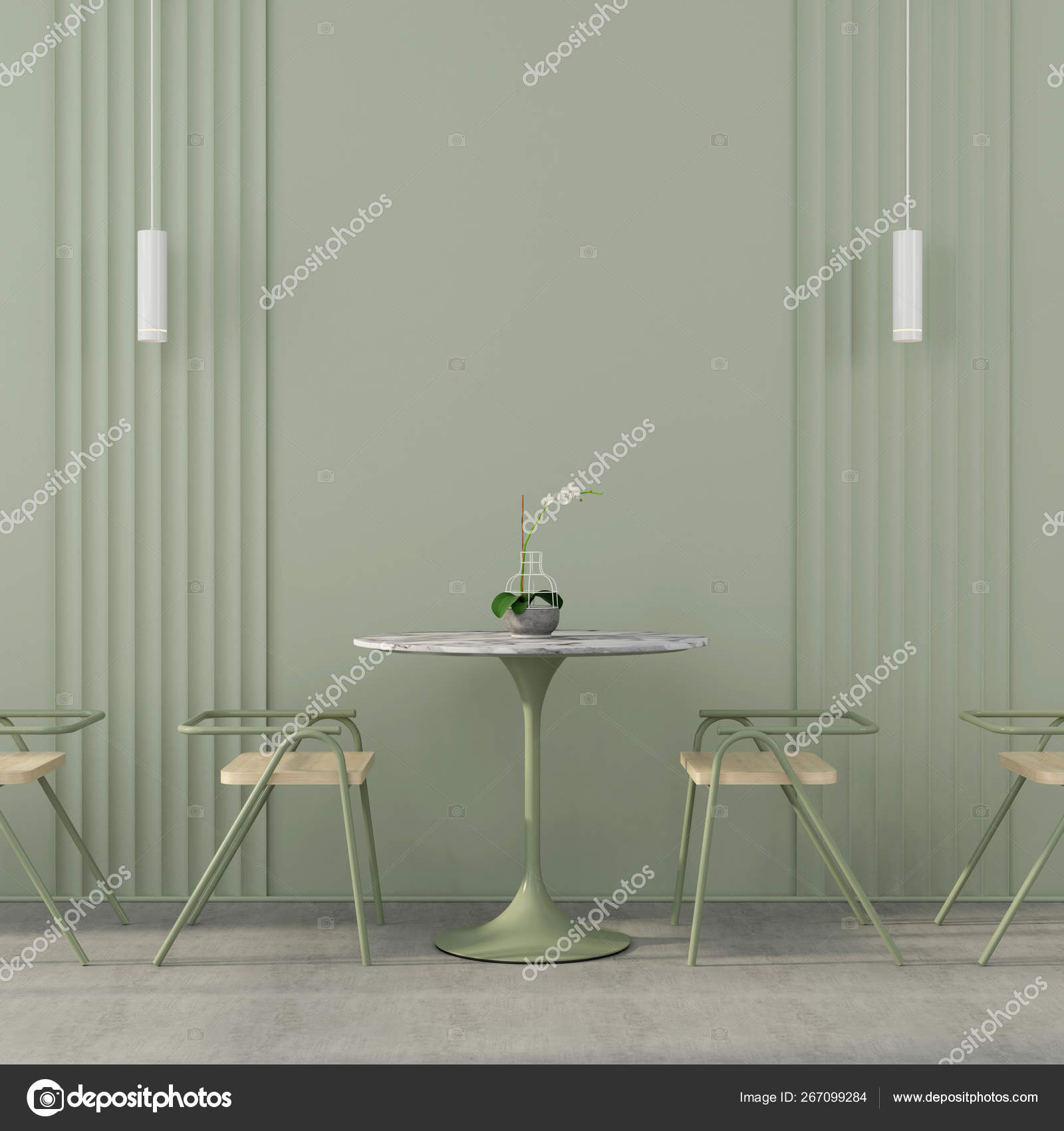 Cafe Interior In Green With Concrete Floor Stock Photo C Jzhuk 267099284