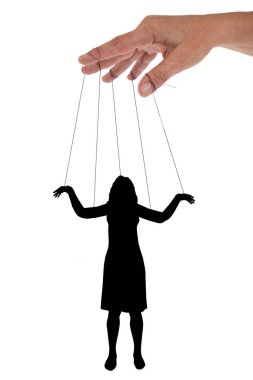 Pervous manipulator concept with a woman in Chinese shadow handled by hands on white background