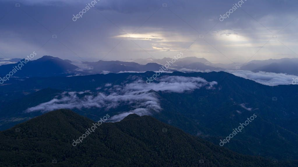 Clouds over the Vietnamese mountains.