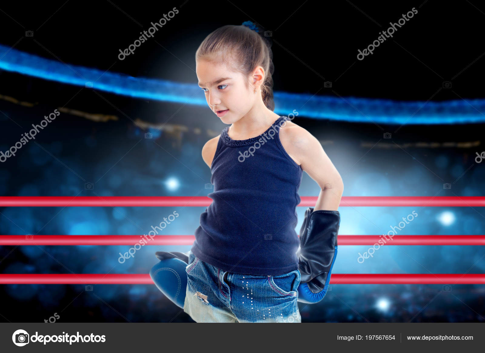 Little Girl Blue Boxing Gloves Ring — Stock Photo © ponomarencko