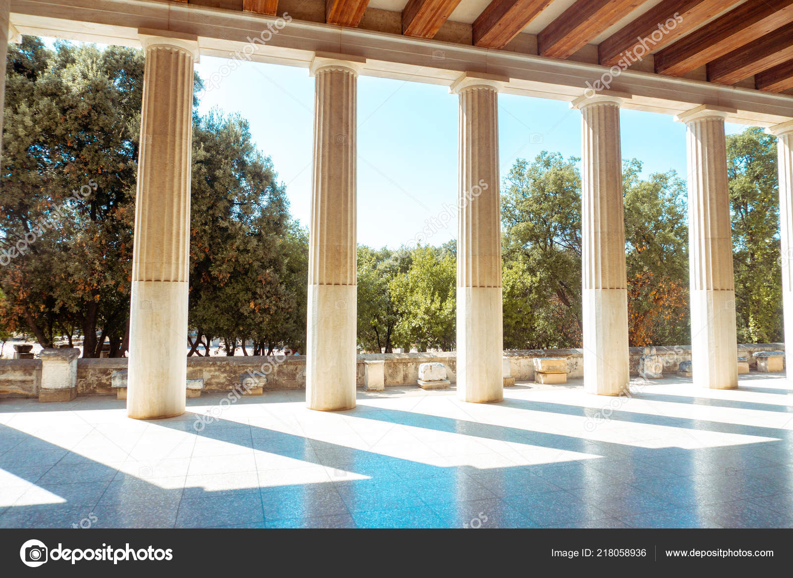 Ancient Greek Columns Gardens Stock Photo Ponomarencko 218058936