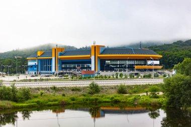 Stadium for ice hockey Fetisov arena in Vladivostok on a cloudy day