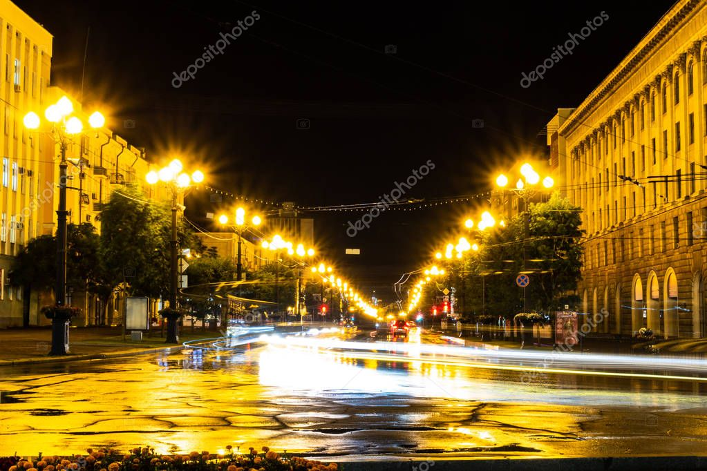 Khabarovsk, Russia - August 13, 2018: Lenin square at night under the light of lanterns.