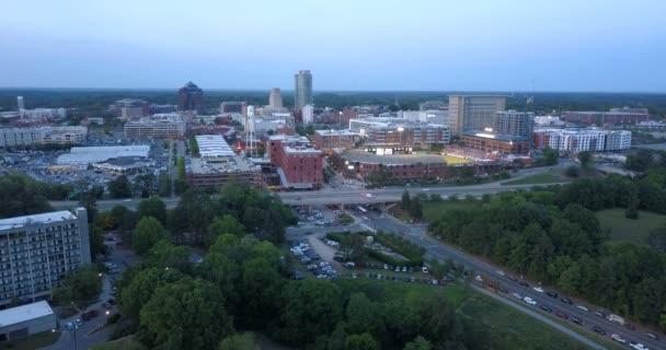 Durham North Carolina Downtown City Skyline Dusk Stock Video