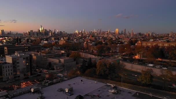 Přes Manhattan South Brooklyn Downtown City Jersey City Panorama