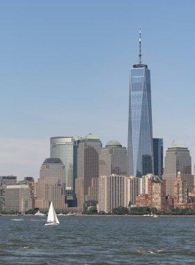 Vertical Composition Sailboat in Hudson Bay Manhattan Skyline
