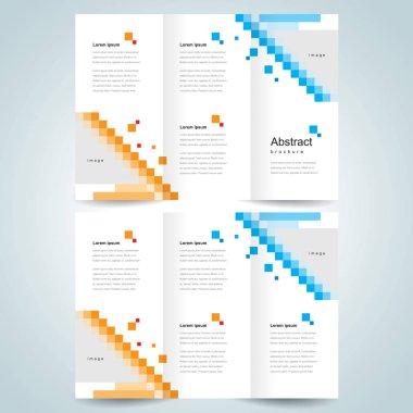 brochure design template tri-fold pixels mosaic abstract