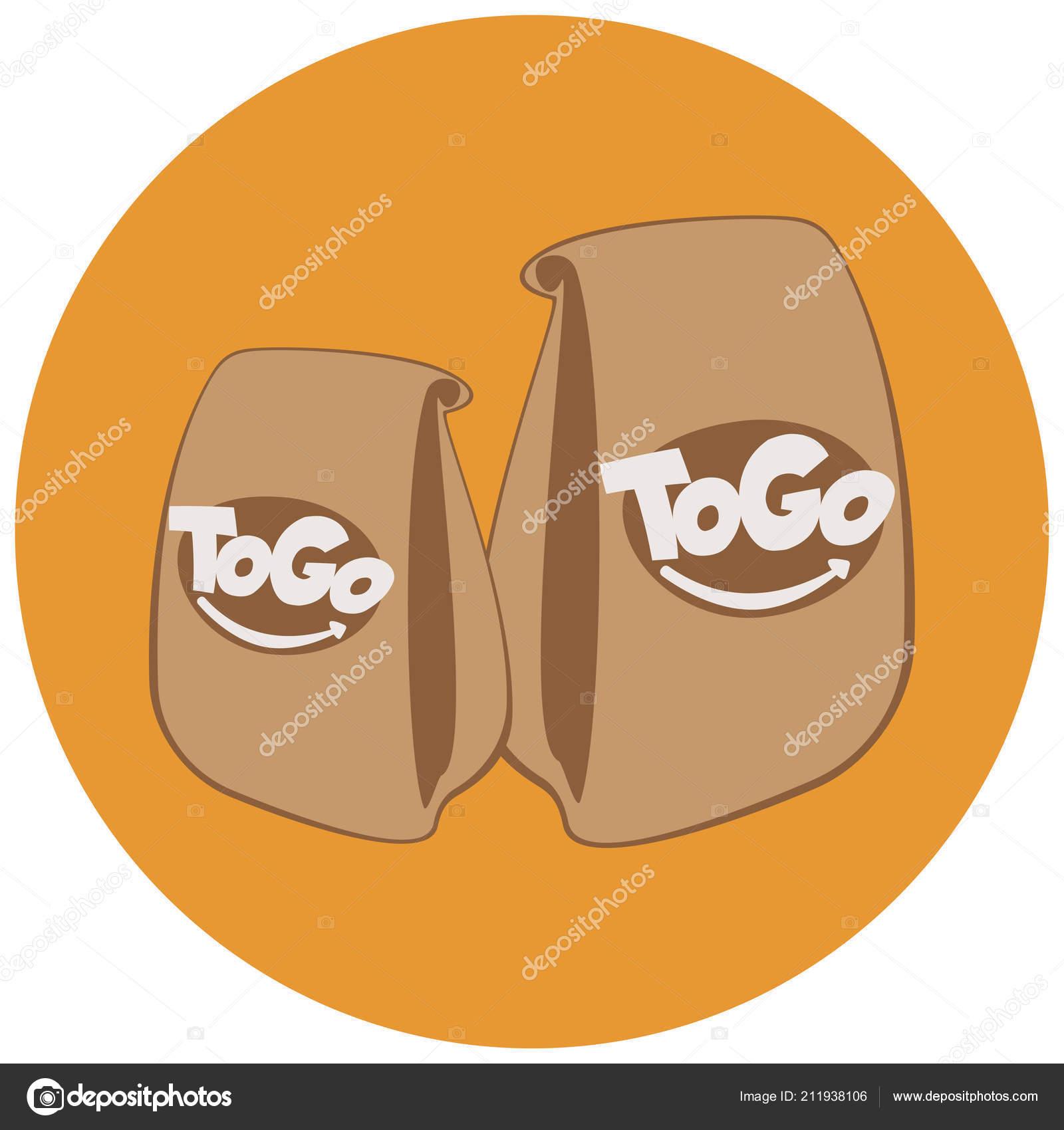 c247739ac Las bolsas de papel con la bandera de casa de food.coffee rápido. bebidas y  comida rápida para ir. Llevar café concepto de logotipo. Comida para llevar  ...