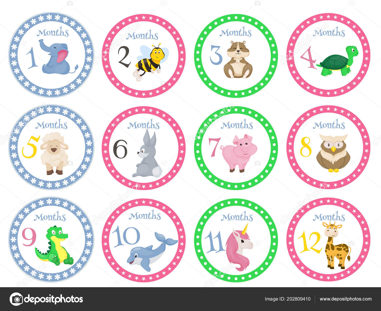 Birthday Month Stickers With Animals For Babies Vector Illustration