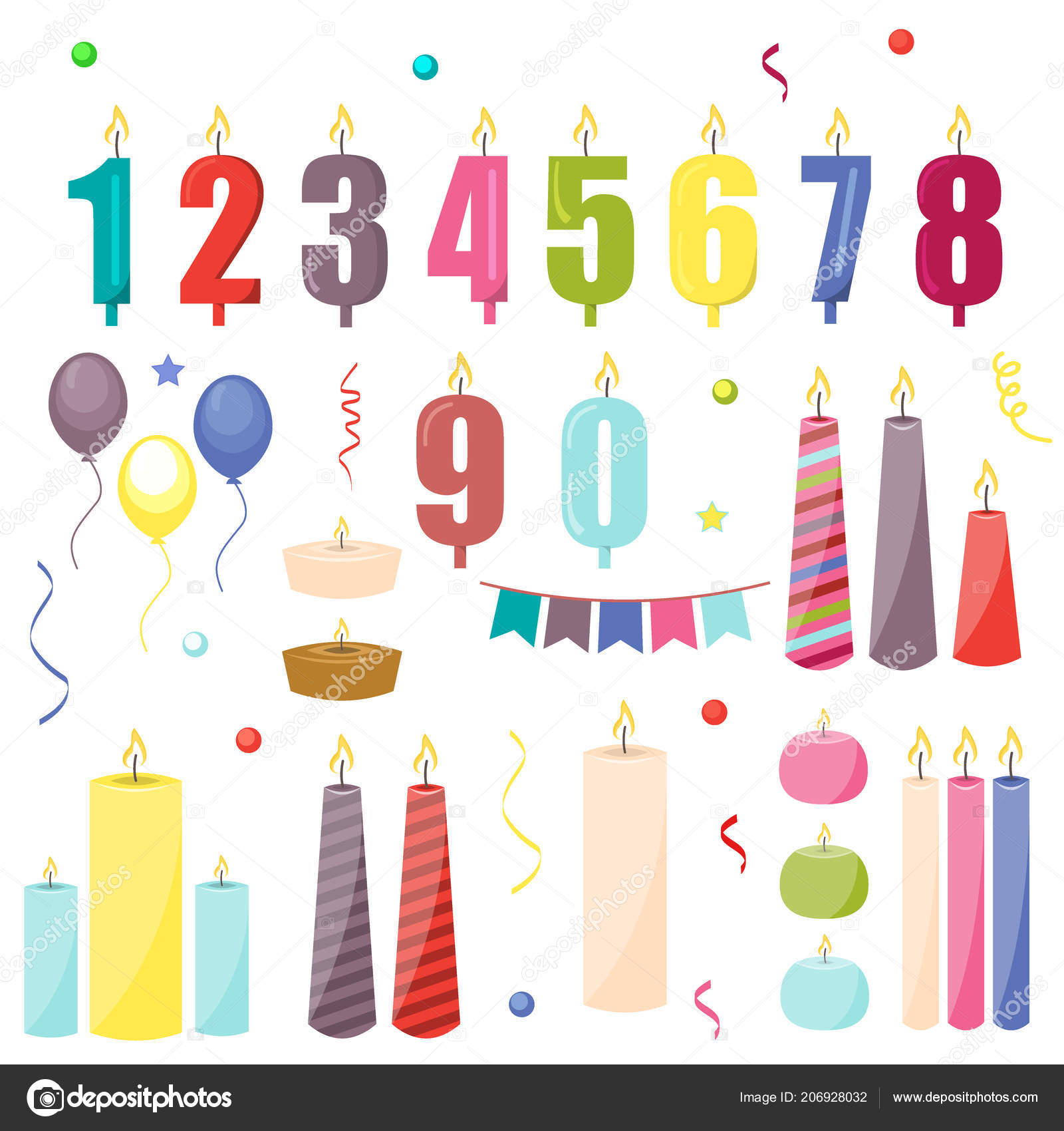 Birthday Cake Candles Celebration Decoration Anniversary Fire Greeting Holiday Gift Stock Vector