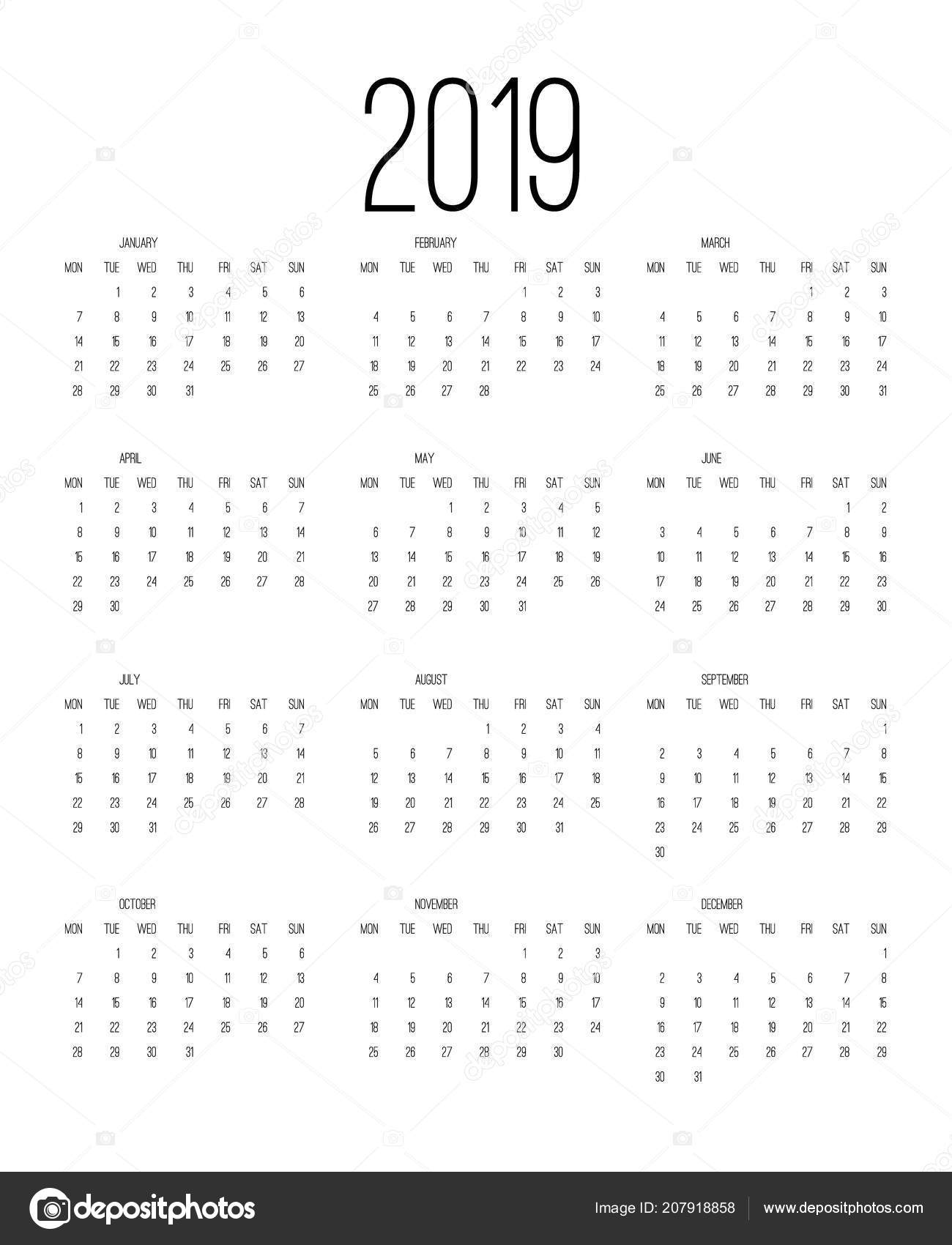 Calendario 2019 Week Number.Calendar 2019 Week Starts Sunday Business Template Vector