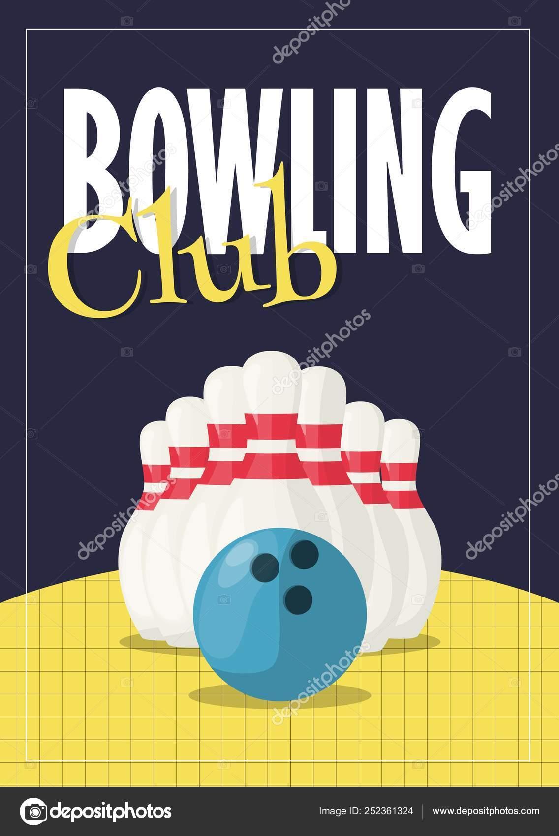 Bowling Torneo Cartel Invitación Vector Ilustración