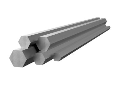Rolled metal products. Galvanized steel hexagon profile. 3d illustration