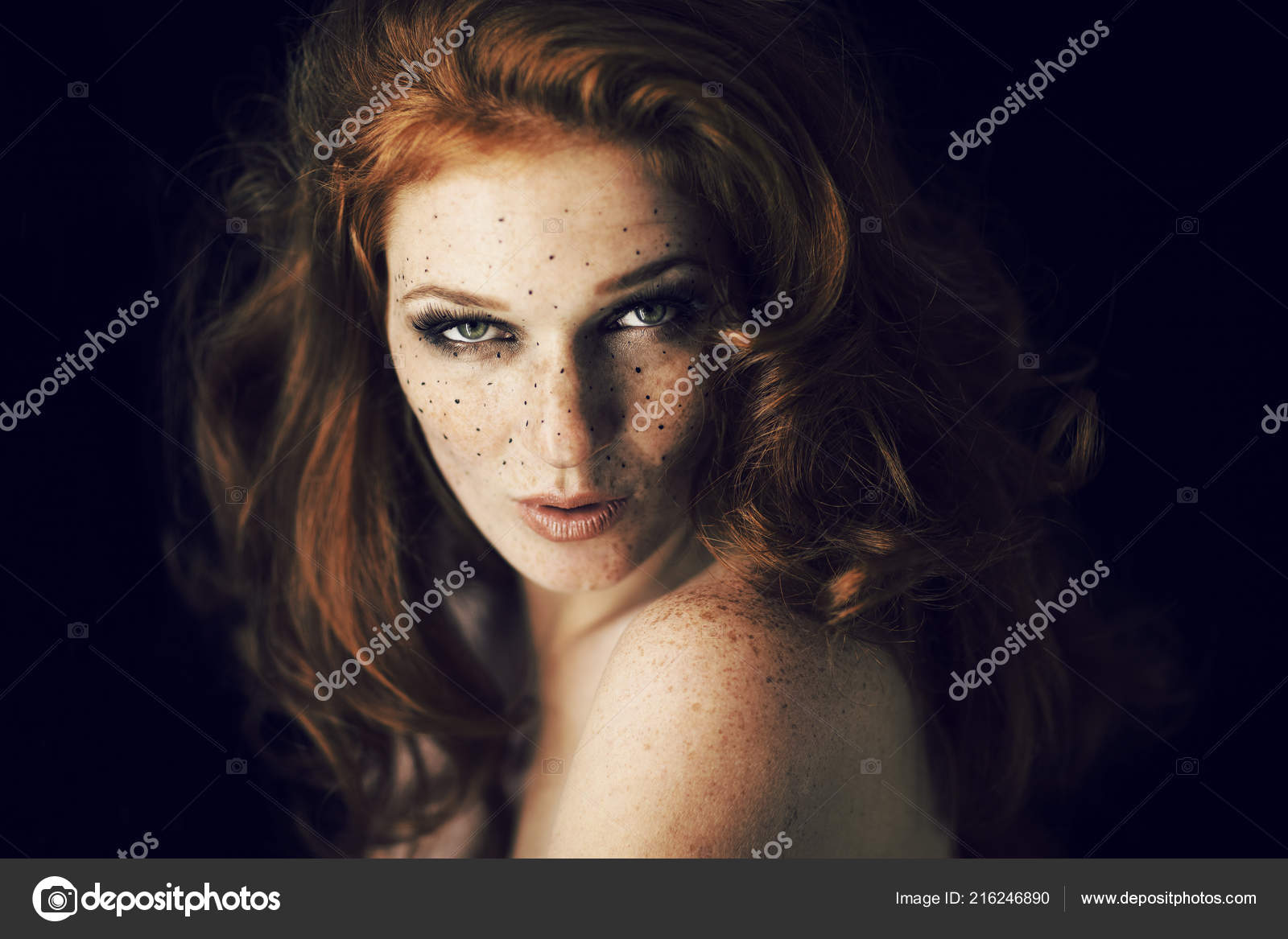 Girl with red hair freckles