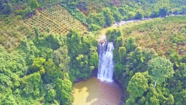 amazing upper view foamy waterfall runs down to lake between green forestry slopes among coffee plantations on tropical sunny day