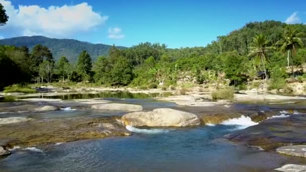 Amazing aerial view above beautiful river with powerful rapids against wild boundless jungle