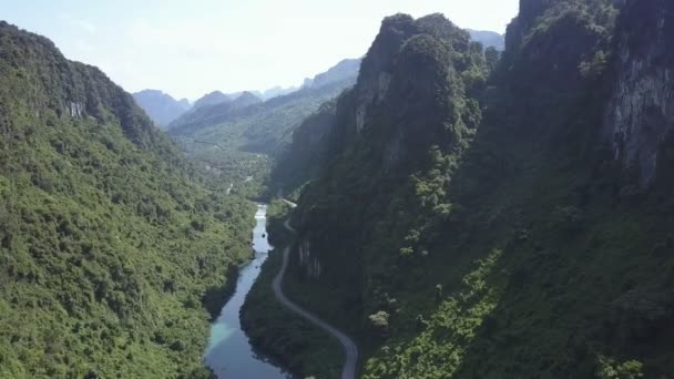 aerial view thick tropical forests cover river canyon banks