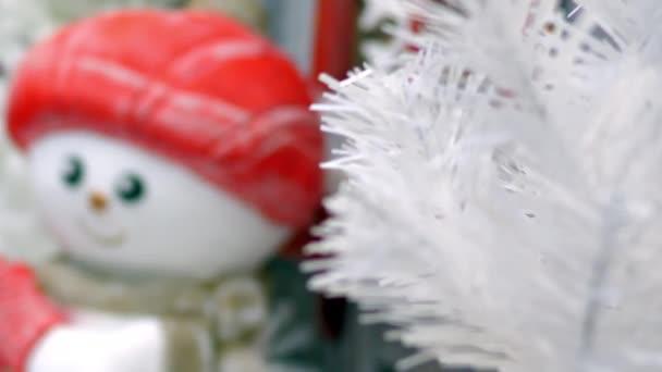 Karácsonyi dekoráció játék hóember fehér újévi fa