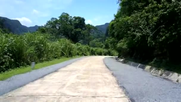 tropical road through trees against strange shaped hill