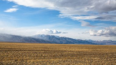 Landscape of the mountains and steppe in Western Mongolia.