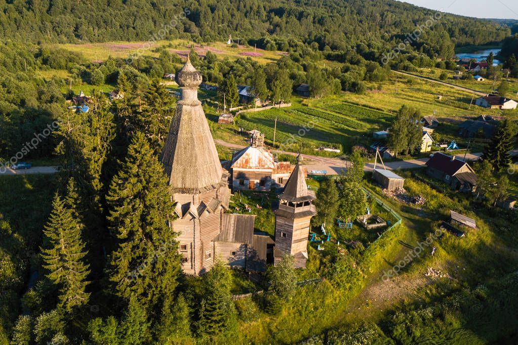 Top view of the Church of St. Nicholas (built 1696) in Soginicy village. Green forests of Leningrad region and Republic of Karelia, Russia.