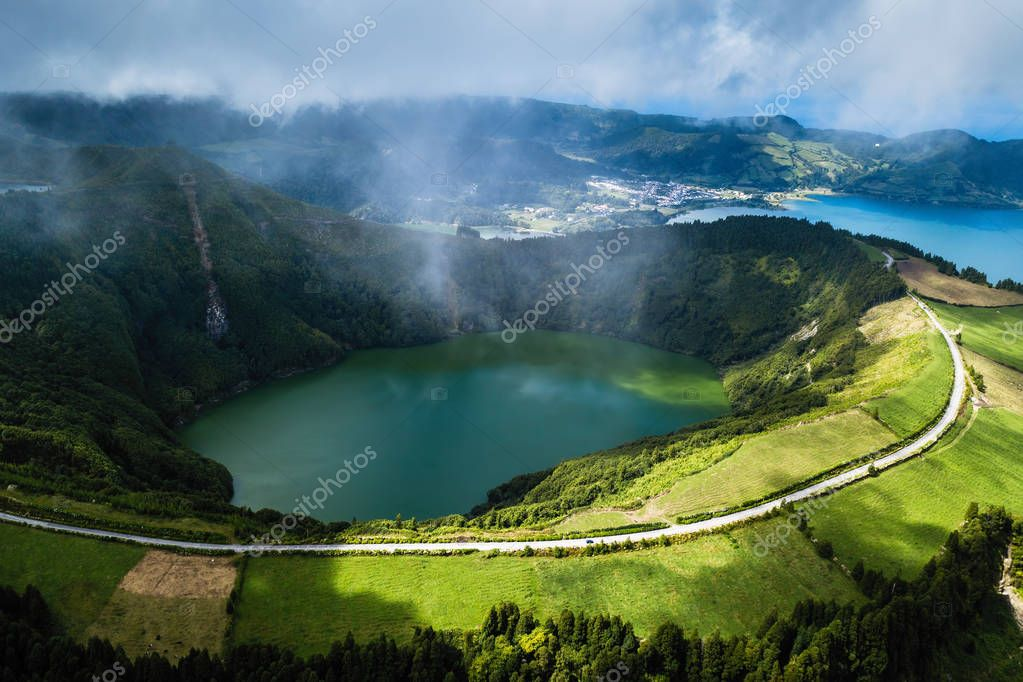 Boca do Inferno viewpoint, Lagoa Verde and Lagoa Azul - lakes in Sete Cidades volcanic craters on San Miguel island, Azores, Portugal.