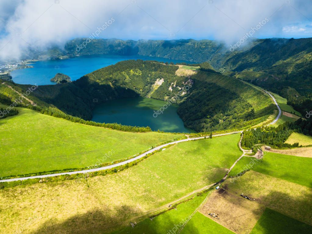 Boca do Inferno - lakes in Sete Cidades volcanic craters on San Miguel island, Azores, Portugal.