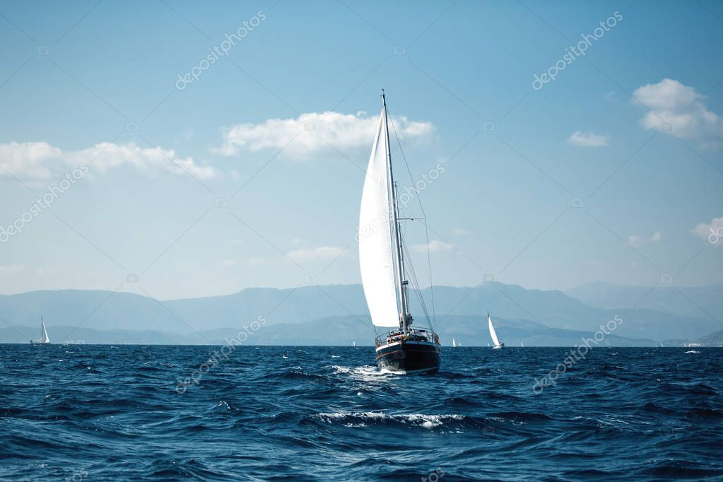 Sailing. Luxury yachts at Aegean Sea. Cruise yachting.