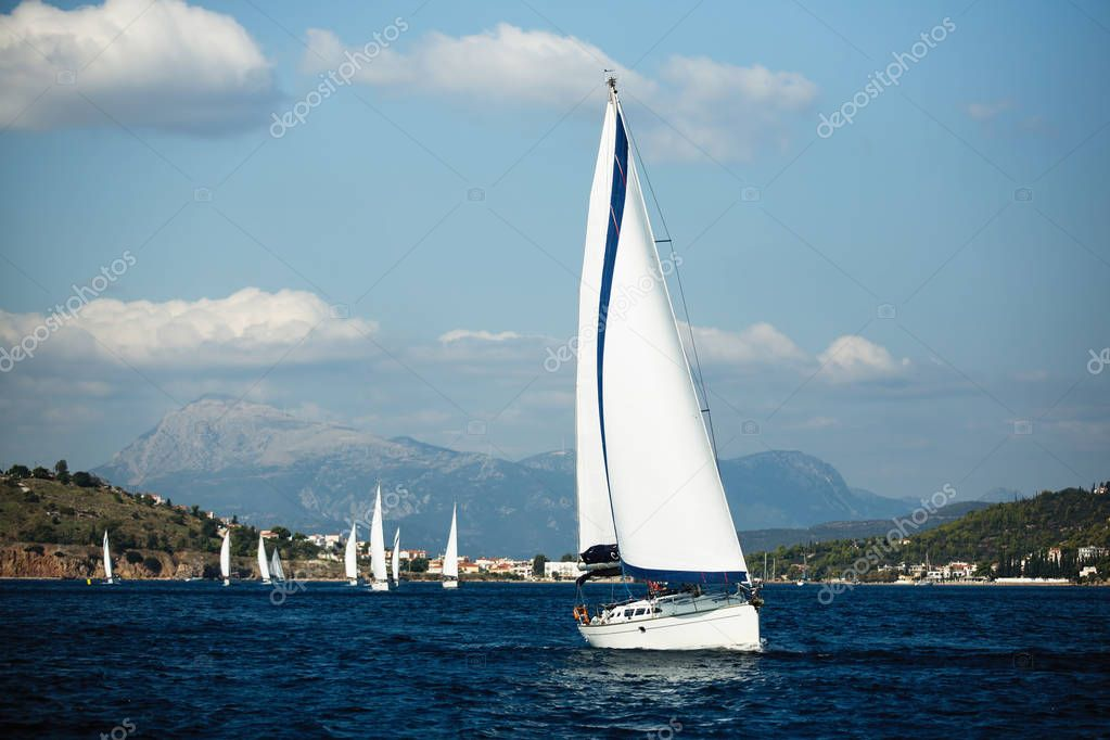 Greece sailing yacht boat at the Sea. Regatta and luxury cruise yachting.
