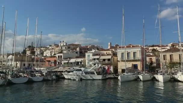 POROS, GREECE - OCT 9, 2018: Sailboats participate in sailing regatta 20th Ellada Autumn 2018 among Greek island group in the Aegean Sea, in Cyclades and Saronic Gulf.