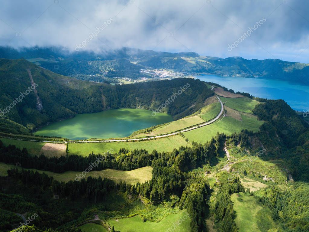Aerial view of Boca do Inferno - lakes in Sete Cidades volcanic craters on San Miguel island, Azores, Portugal.