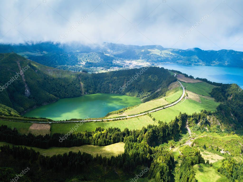 Boca do Inferno lakes in Sete Cidades on San Miguel, Azores islands, Portugal.