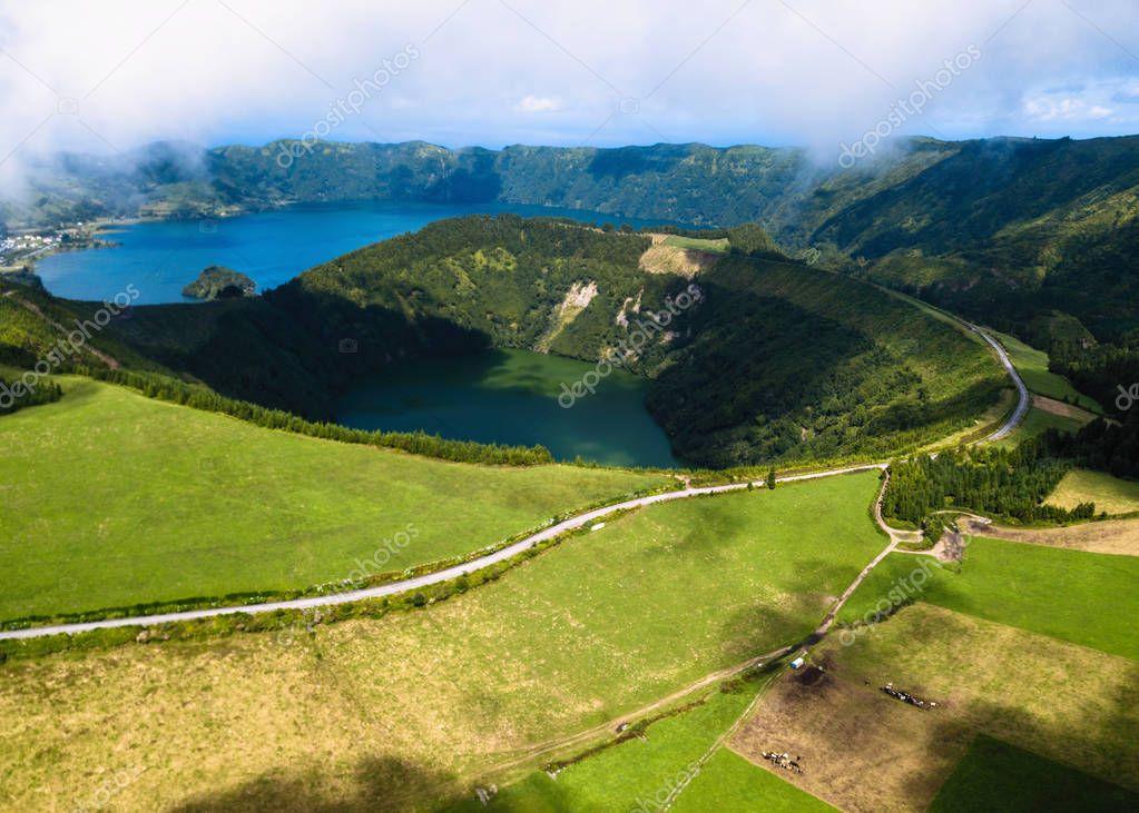 Boca do Inferno lakes in Sete Cidades on San Miguel - Azores islands, Portugal.