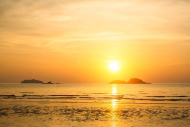 Beautiful sunset over the Sea coast. Twilight.