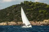 Greece sailing yacht boat at the Aegean Sea.