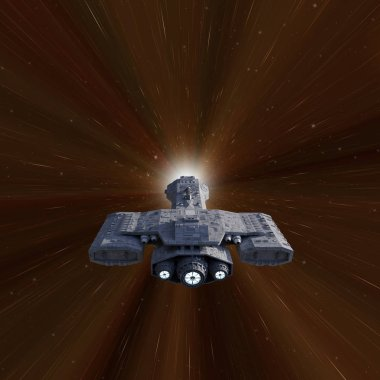 Science fiction illustration of a battle cruiser spaceship travelling faster than the speed of light in hyperspace, 3d digitally rendered illustration