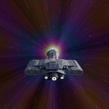 Science fiction illustration of an interplanetary spaceship travelling faster than the speed of light in hyperspace, 3d digitally rendered illustration