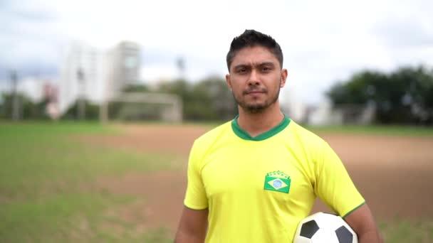 Brazilský fotbalový hráč portrét