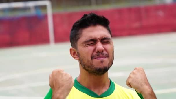 Brazilian man fan celebrating