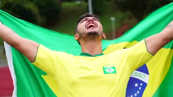 Brazilian man fan celebrating