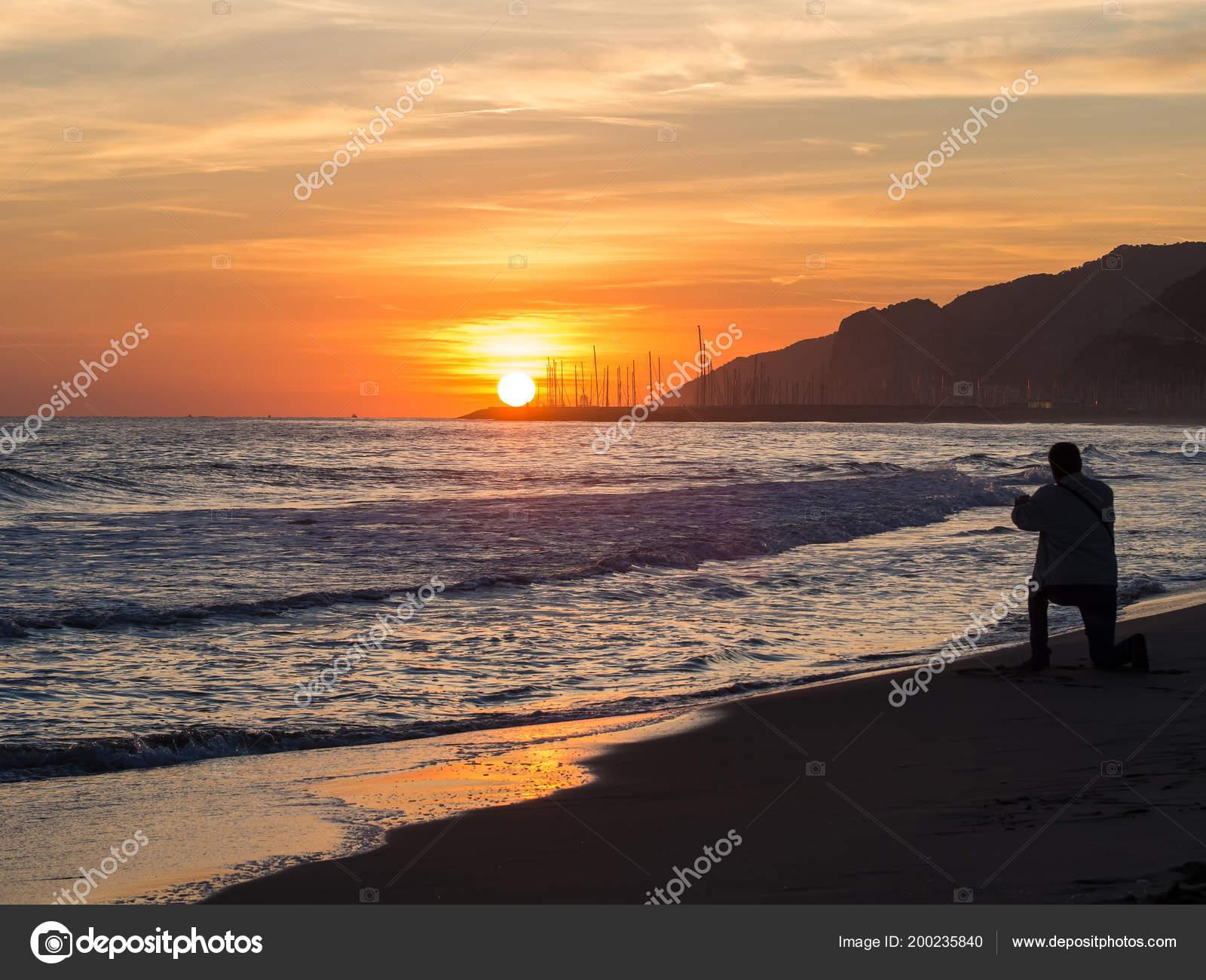 Photographer Portraying Sunset Beach Background Port Place