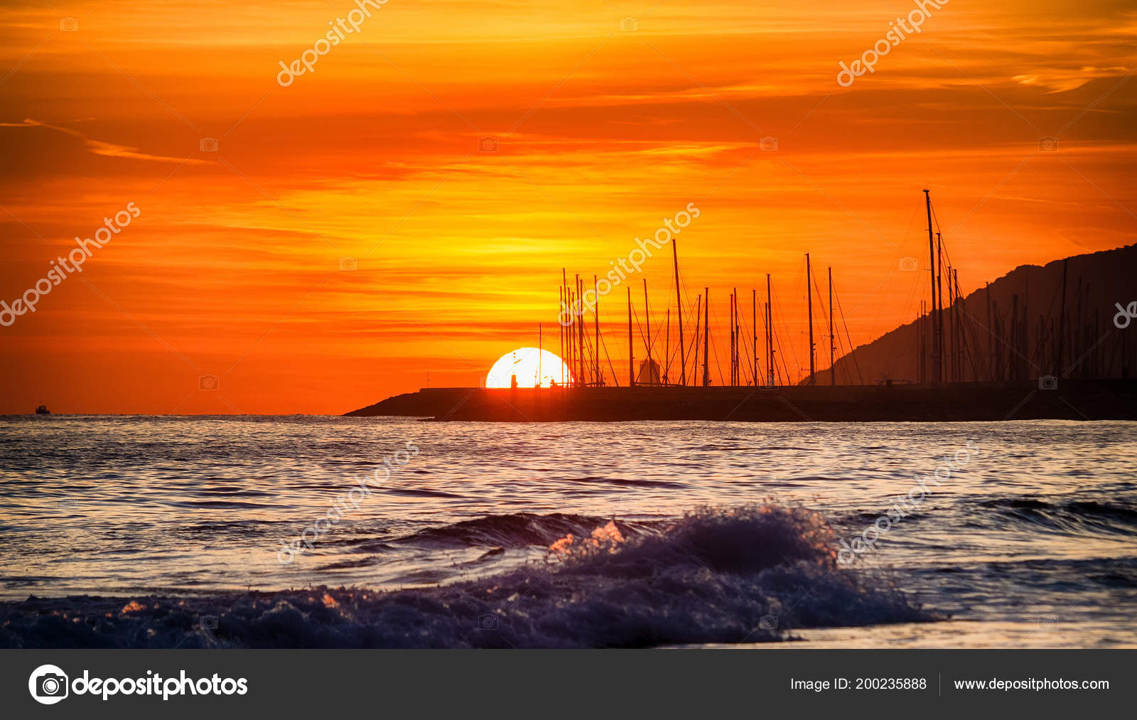 Sunset Beach Background Port Place Castelldefels — Stock