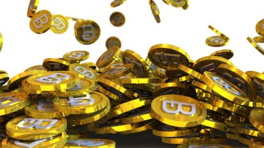 3D illustration of bitcoin coins falling on a white background