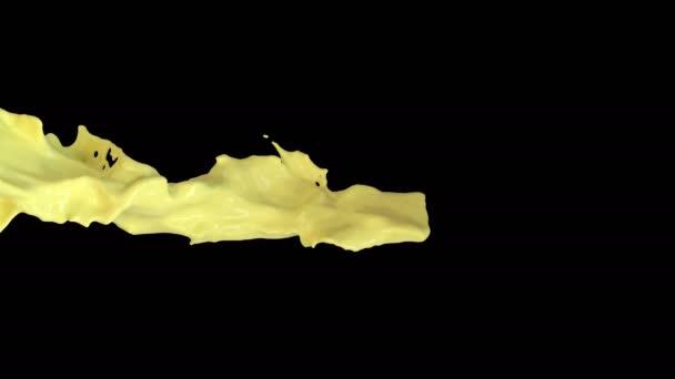Animazione 3d di un flusso di succo darancia con strato alfa