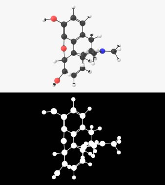 3D illustration of a morphine molecule with alpha layer