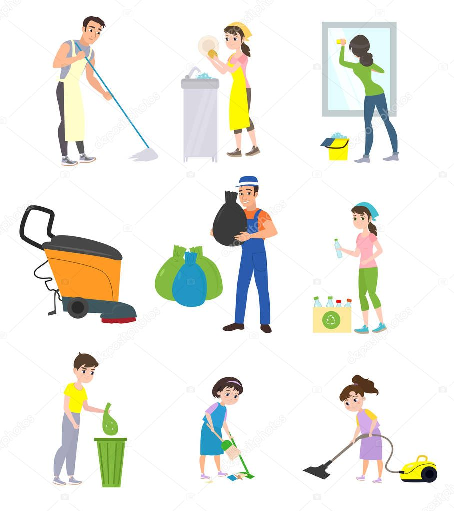 Set of cleaning company staff