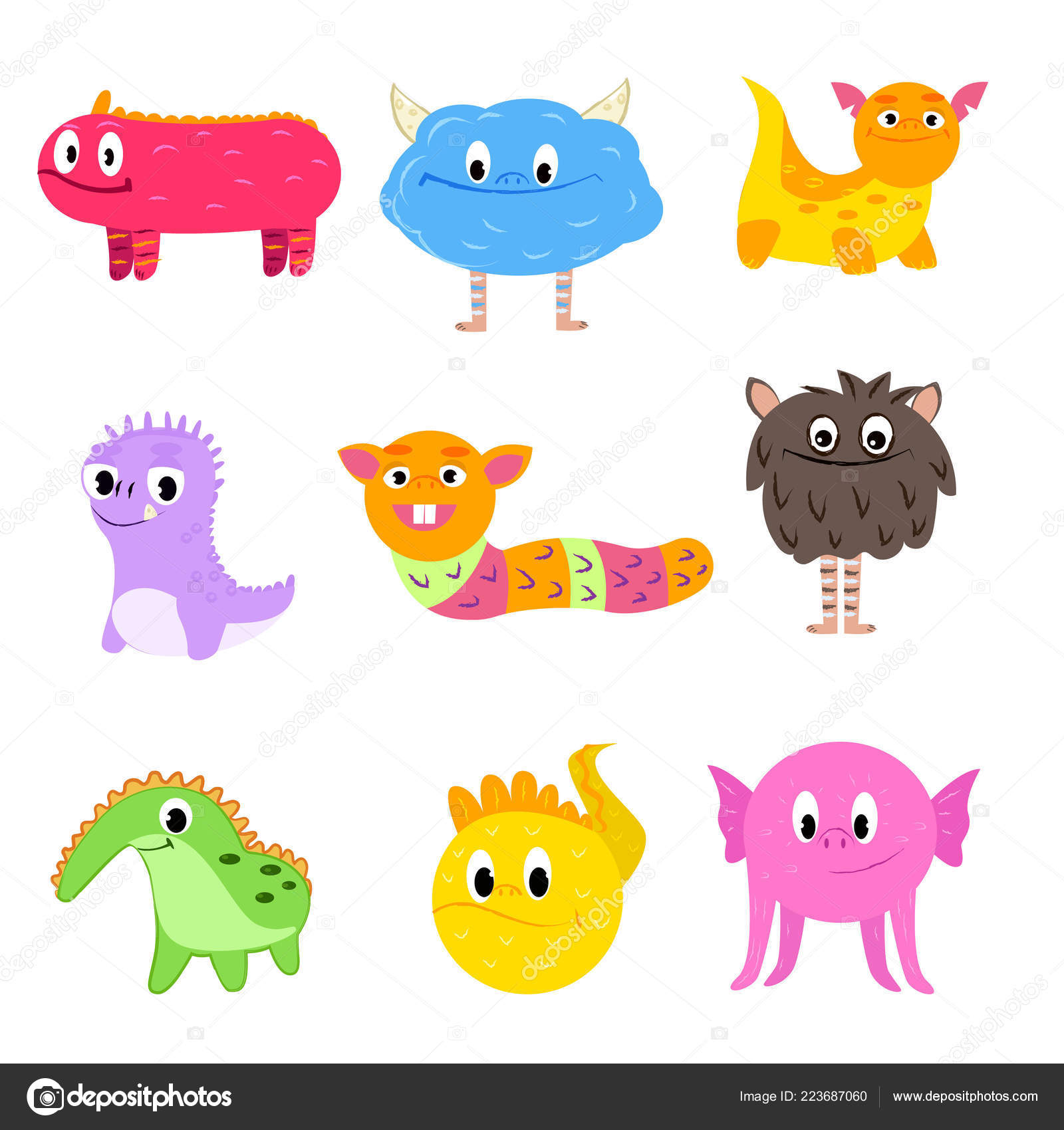 Set Of Multi Colored Cartoon Cute Monsters Not Similar To