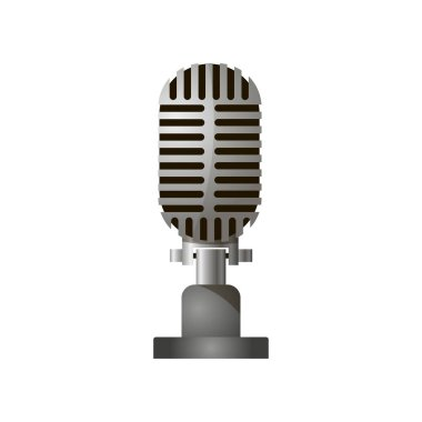 Close up view of retro stylish acoustic gray microphone isolated against a white background.