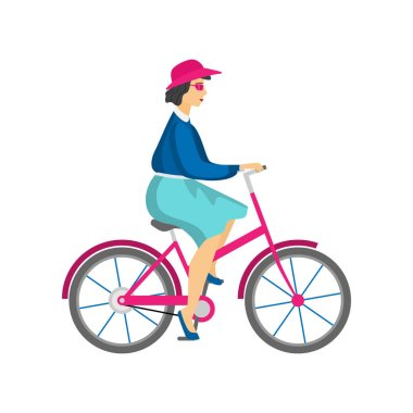 Adult woman in pink hat and sunglasses riding bicycle
